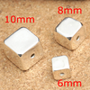 jewelry making solid sterling silver laser logo engraved square spacer beads for custom logo square beads for bracelets