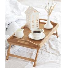 Premium Bamboo Wood Folding Serving Breakfast Tray Bed