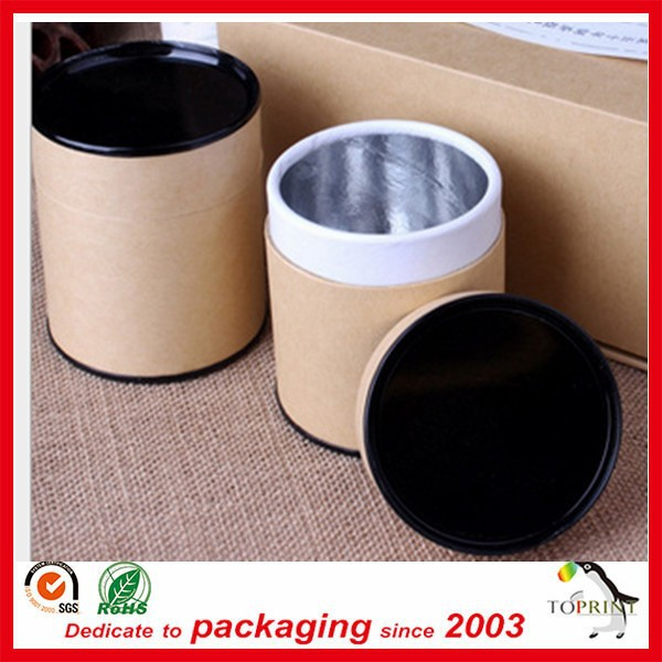 custom design kraft paper tubes for tea with aluminium-foil paper inside waterproof effect recycled paper box for tea and coffee