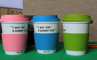 """I am not a paper cup""---Double Wall Ceramic travel mug/ceramic coffee cup/travel tumbler with Silicone Lid and sleeve"