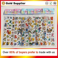 Pikachu stickers for children 10 pieces/ lot Pokemon 3D bubble stickers for kids cartoon Diary Scrapbook Calendar Decoration