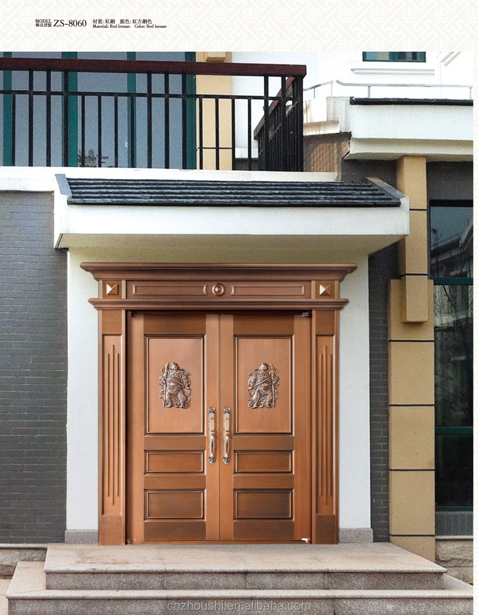 fashion style true bronze double main exterior safety door for villadom, private house