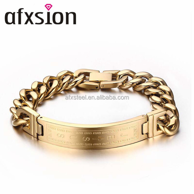 AFXSION titanium steel jewelry Korean fashion Jesus cross bend stainless steel gold bracelet men's bracelet jewelry wholesale