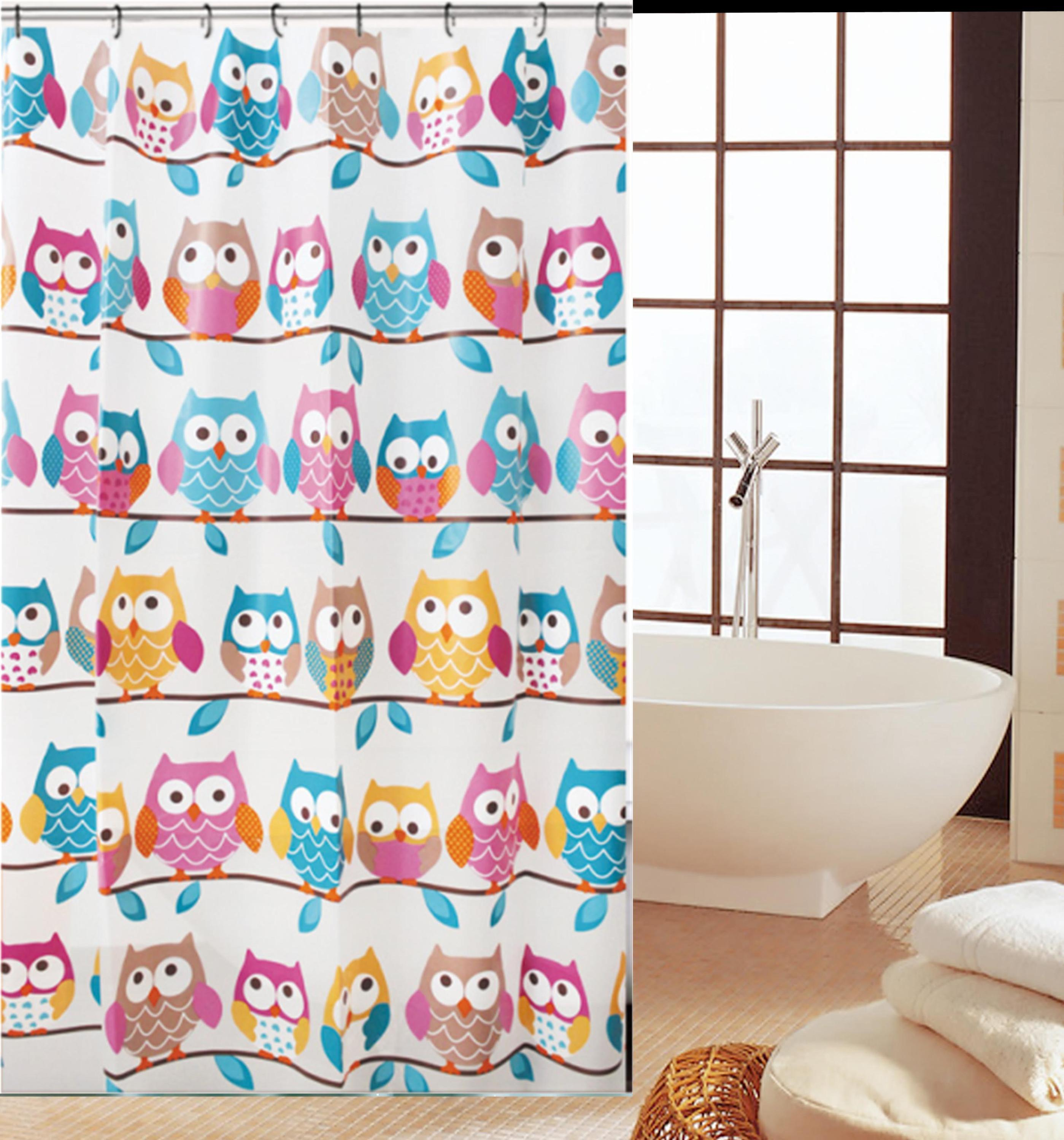 Supply the new owl pattern fashion PEVA shower curtain