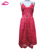 2017 new summer dress Strapless temperament waist slim red sleeveless lace dress