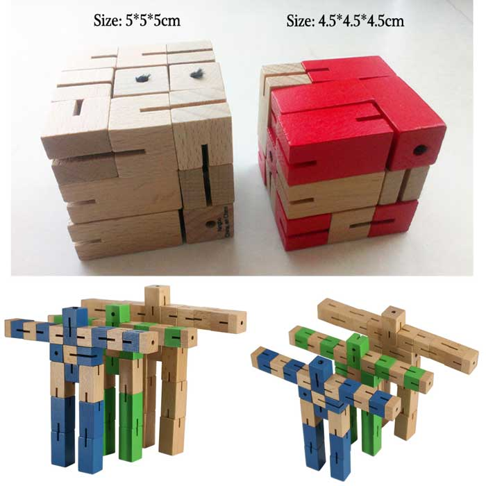Montessori Educational Toys Wooden Robot Toy Kids Wooden Toys For Children Wooden Cube Puzzle Plaything