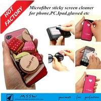 custom design Christmas gifts PU microfiber mobile cleaning phone cover