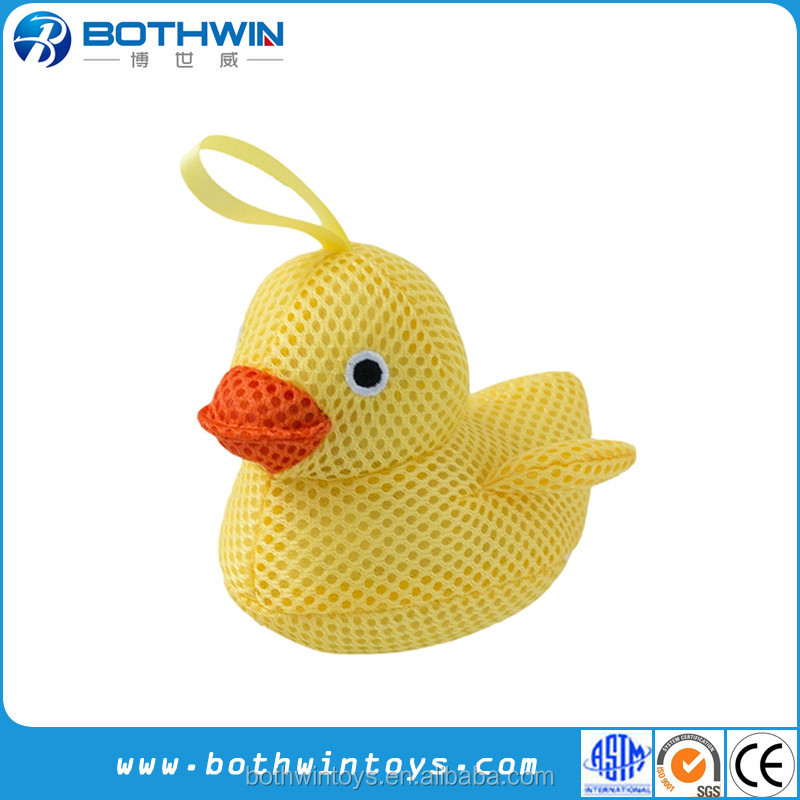 Safe non-toxic mesh plush material interactive little yellow duck soft baby bath toys