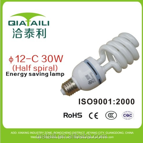 with CE ROHS TUV 1w to 30w half spiral 12 diameter tube energy saving light