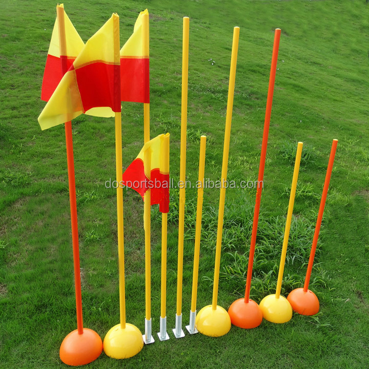 1m,1.5m ABS soccer training equipment slalom pole with dome base or spike base indoor outdoor pole set