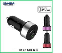 china supplier Alibaba express 3.1A/2.1A mini bullet dual usb 2-port car charger adaptor