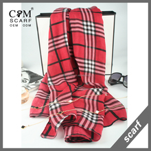 100% viscose checked design pashmina scarf