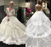 Long Sleeve Plus Size Vestido De Noiva Custom Made 2018 Puffy Lace Ball Gown Wedding Dresses MW1035