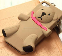 New fashion Cute 3D Toy Teddy Bear Soft Silicone Cover with red Coque Phone Case for iPhone 5 5S 6S 6 Plus