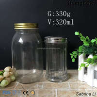 300ml seasoning spice sauce pepper glass bottle with stainless lid