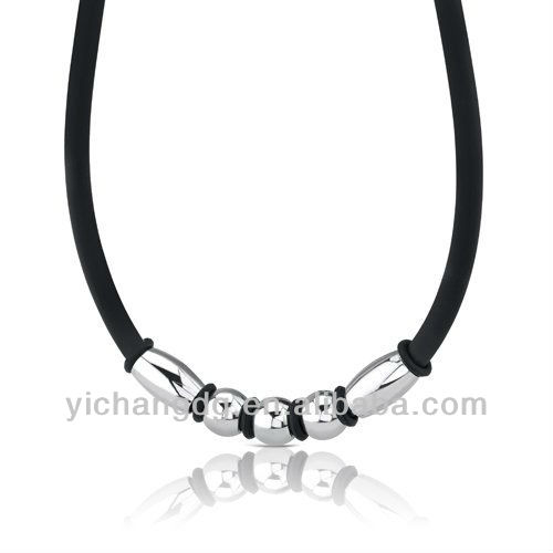 Stainless Steel Barrel and Round Bead on a Rubber Cord Necklace for Men