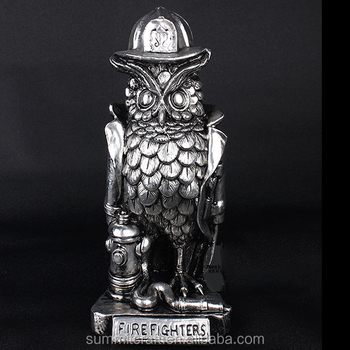 Export electroplate polyresin fire owl owl statues