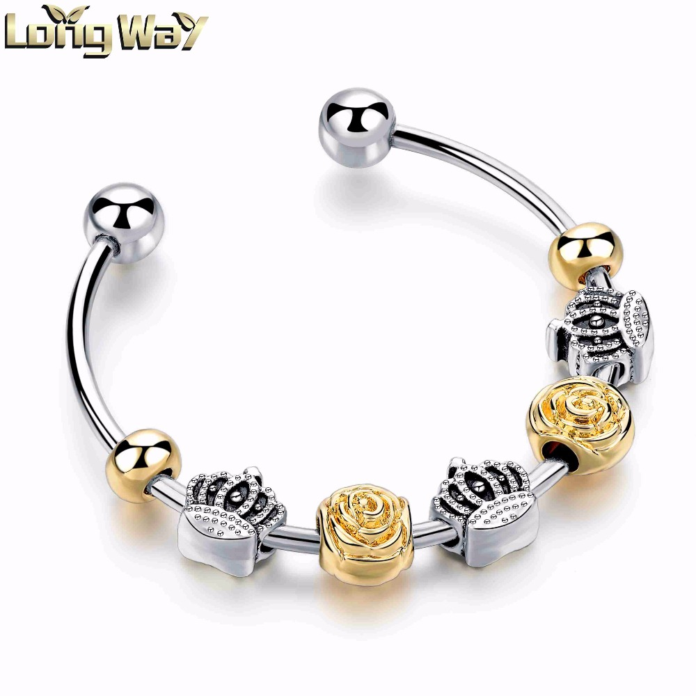 Fashion gold and rhodium plated rose design charm beads bangles big hole crown beads bangle