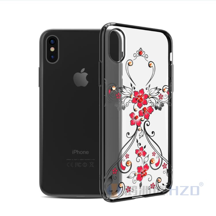 Kingxbar Luxury Feminine Crystal Diamond Hard PC Case for IPhone X,Diamond case for iphone X HD-1008