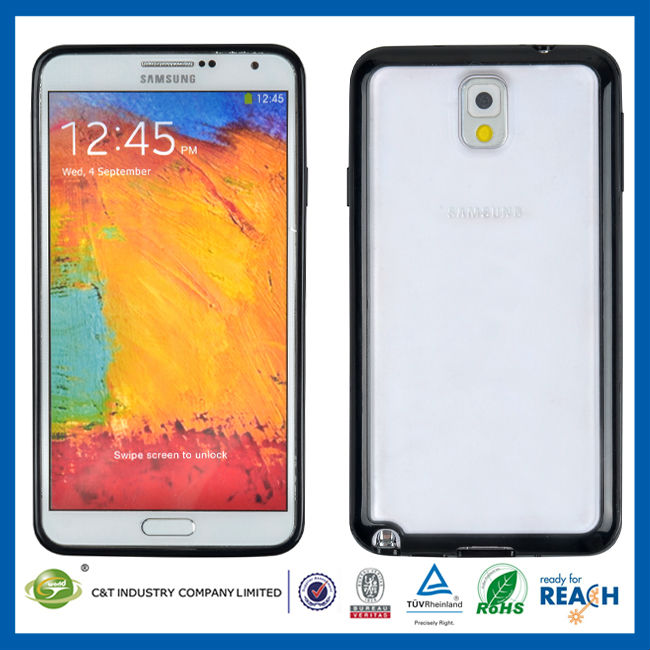 C&T Black bumper clear phone case for samsung note 3