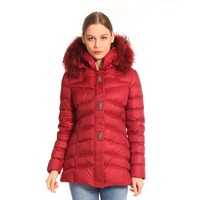 Red Medium Style Cheap Fur Duck Down Woman Winter Jacket
