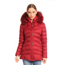 Red Medium Style Cheap Winter Woman Duck Down Fur Jacket
