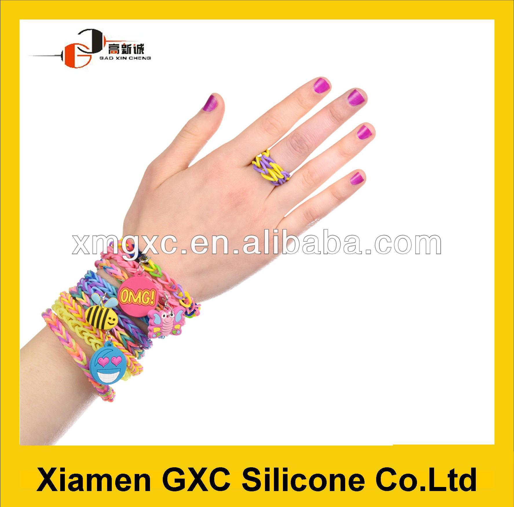 Fashion design fun loom rubber band with charm