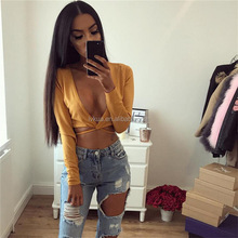 2017 Hot Sale Apparel t-shirt in Amazon Women Summer Sexy Long Sleeves Deep V-neck Crops Tops