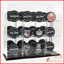 ACRYLIC DISPLAY CASE 12 NHL HOCKEY PUCKS DELUXE