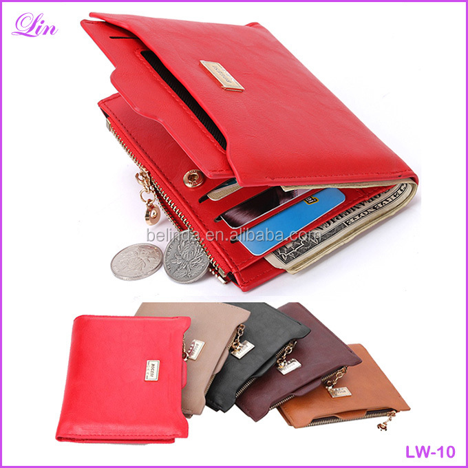 Fashion Zipper PU Leather Coin Card Holders women wallet