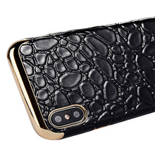 Metallic side crocodile leather case for iPhone 8 7 plus 6 plus quality phone case for iPhone X holster