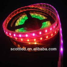 60pixels SK6812 led pixel light strip;60leds/m with 60pcs ws2811 built-in;4m/roll;DC5V input;black pcb;silicon tube waterproof