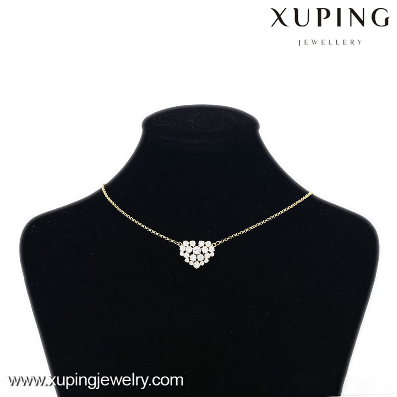 41416-xuping trendy gold heart jewelry designs diamond statement necklace 2015
