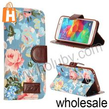 Jean Cloth Flowers Design Stand Mobile Phone Flip Leather Cover Case for Samsung Galaxy S5 I9600 with Card Slots