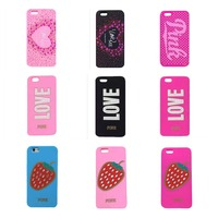 candy color love Polka Dot Pattern/Diamond Crystal Strawberry love design soft silicone case For iphone5 5s/6 6s plus
