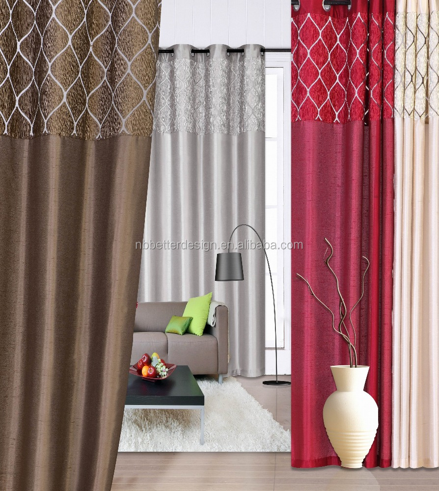 1pc Fancy Patchwork Faux Silk Window Curtain