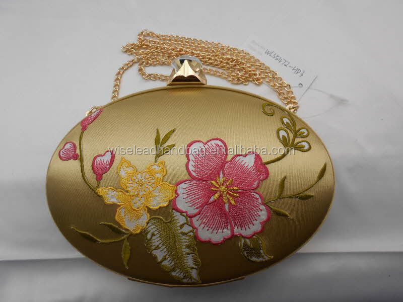 GOLD CHINESE STYLE VINTAGE FLOWER COSMETIC EVENING HANDBAG CASE