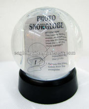 Plastic flaxible promotion souvenir custom picture frame photo insert snow globe