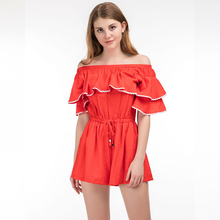 2017 WeFun Latest Women Summer Off Shoulder Rompers Orange Ruffles Sleeves Elegant Ladies Jumpsuits In Casual Dress Playsuits