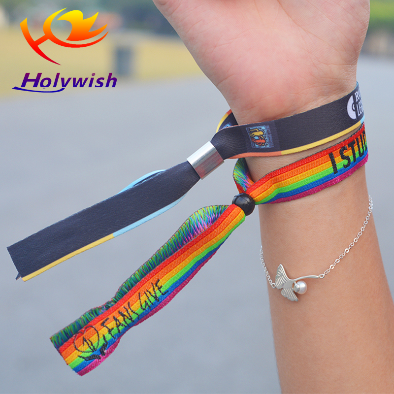 Hottest fashion design polyester plastic clasp fabric woven wristbands