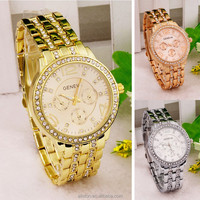 2016 best couple wholesale china stainless steel back geneva watch ladies watches Three diamond eyes alloy