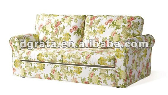 2013 Living room adjustable sofa bed with high printed cotton fabric and anti-rust metal