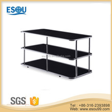 good quality rectangle black tempered glass chrome frame side table