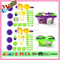 Lucky audit factory Kids plastic toy food children household pretend kitchen play set simulation cooking toy set for kids