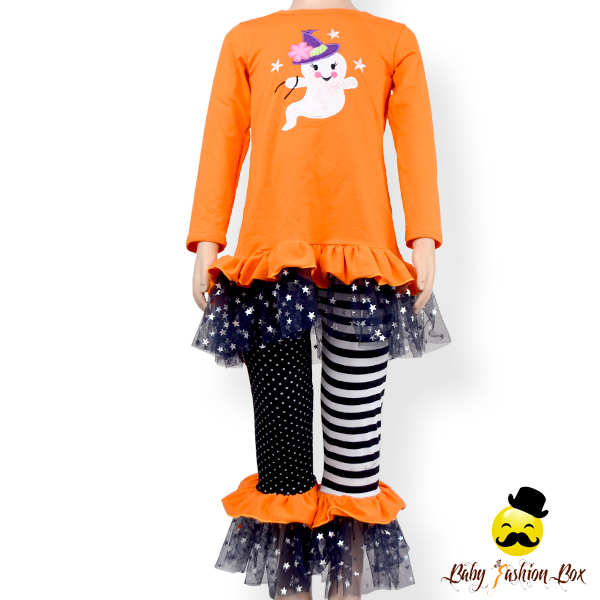 Fall Kids Orange Long Sleeve Applique Shirt Tulle Bottom Ruffle Icing Pants Little Girl Halloween Remake Clothing Set