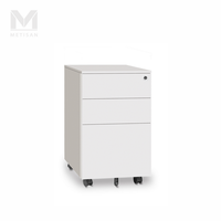 Metal Office Pedestal 3 Drawer White Mobile File Cabinet Filing Metal Office Cabinet
