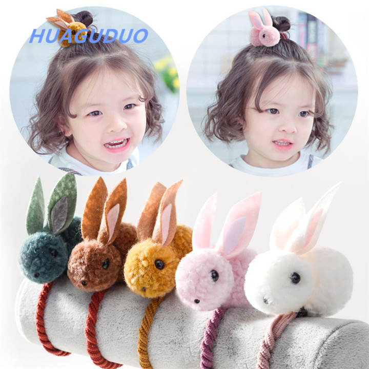 2019 korean baby girl <strong>hair</strong> <strong>accessories</strong> set cute plush bunny little girl headbands toddler ponytail elastic pom pom <strong>hair</strong> band