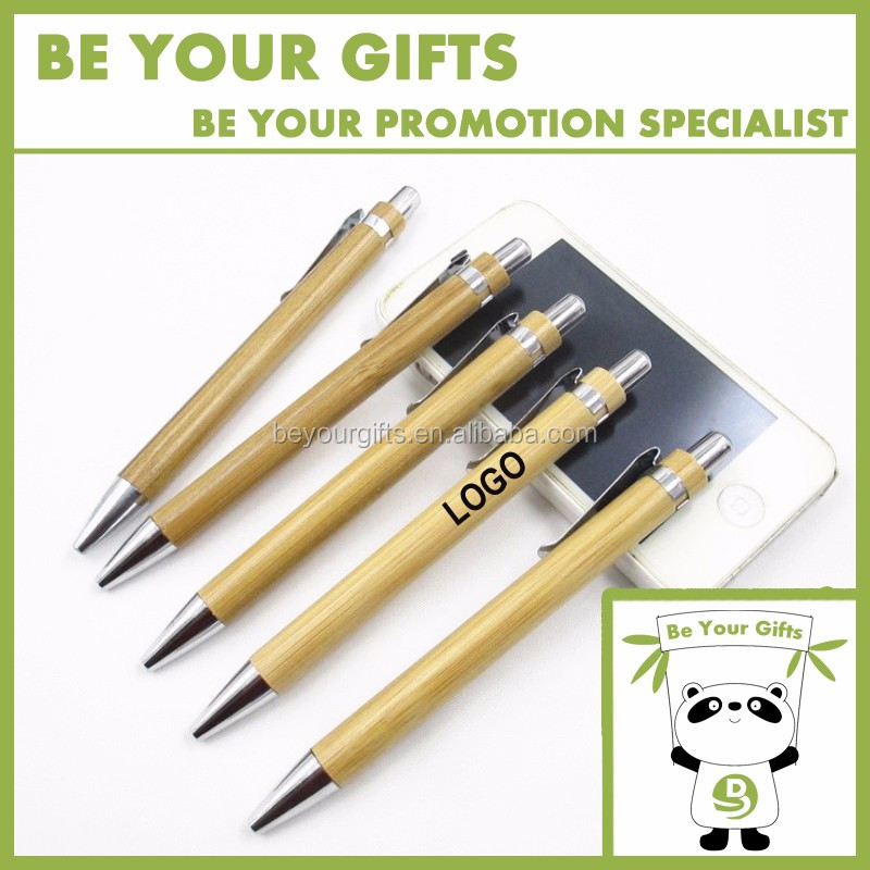 Promotional Custom logo advertising Eco-friendly bamboo ballpoint pen with metal clip