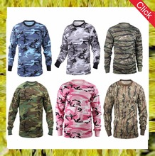 Custom wholesale cotton camouflage hunting long sleeve printed camo t shirts fashion men round collar mens outdoor shirts