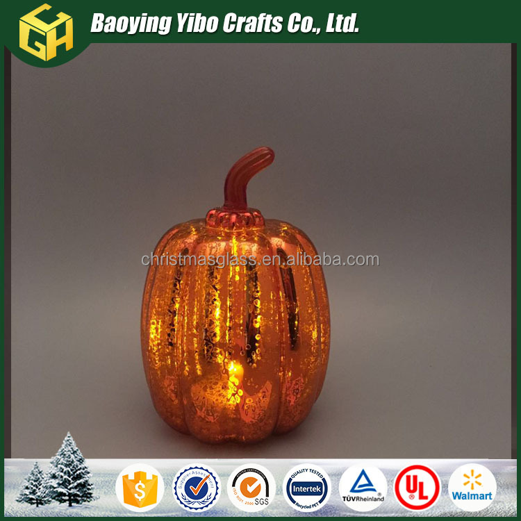 Personalized glass LED pumpkin light for Halloween decoration and home decor